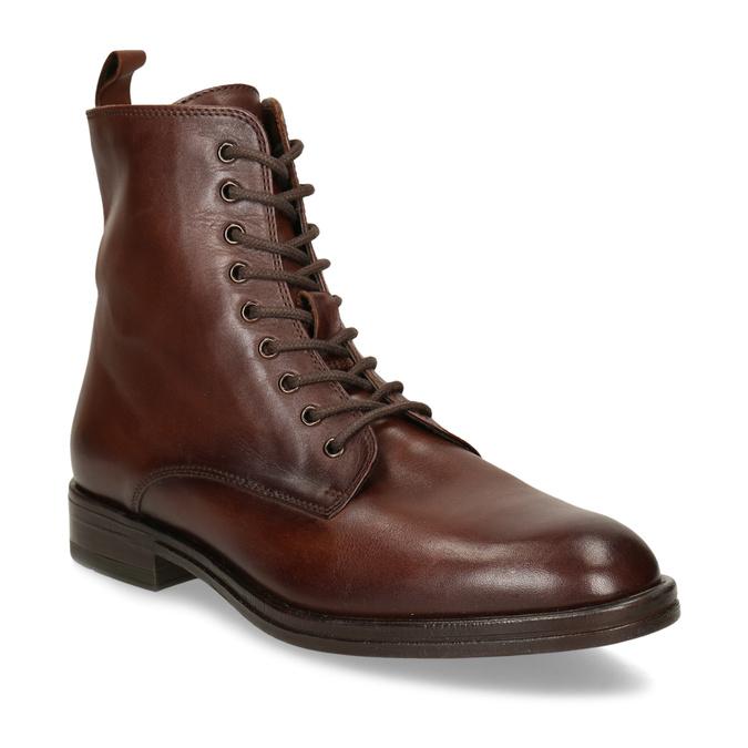 Dámská kožená kotníková obuv na zip bata, hnědá, 594-4620 - 13
