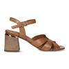 Hnědé dámské kožené sandály na širokém podpatku bata, hnědá, 764-4600 - 19