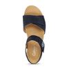 Tmavě modré kožené sandály na hrubé podešvi gabor, modrá, 563-9104 - 17