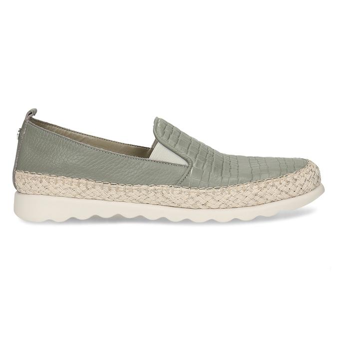 Zelená kožená dámská slip-on obuv comfit, zelená, 524-7604 - 19