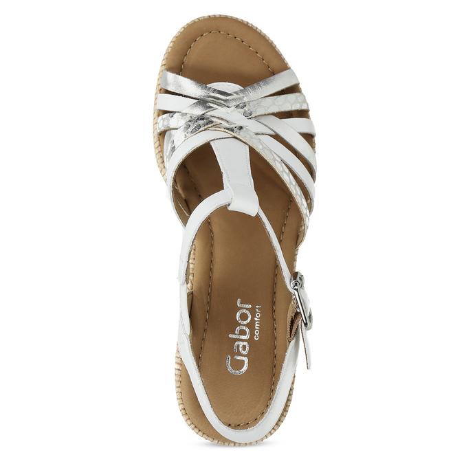 Kožené dámské sandály na podpatku gabor, bílá, 666-1101 - 17