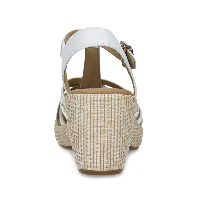 Kožené dámské sandály na podpatku gabor, bílá, 666-1101 - 15