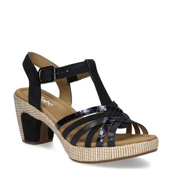 Modré dámské kožené sandály na podpatku gabor, modrá, 666-9101 - 13