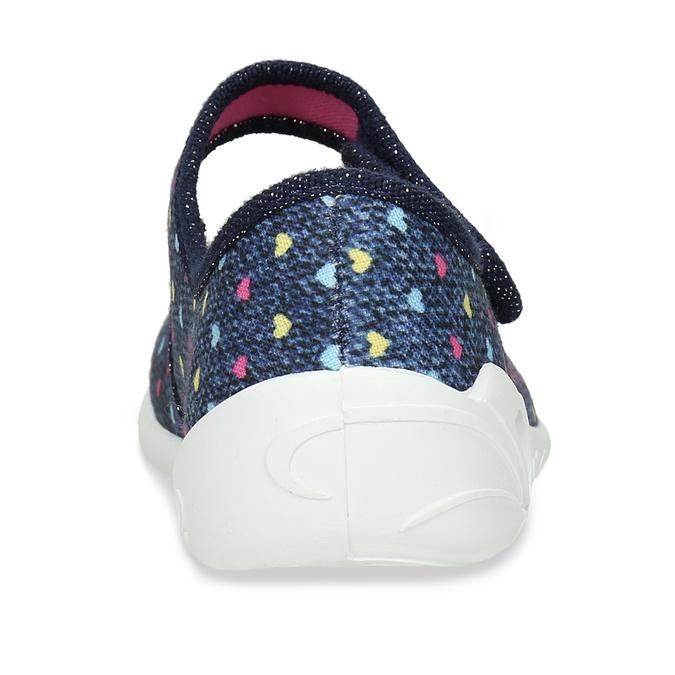 Modrá dívčí domácí obuv se srdíčky mini-b, modrá, 279-9601 - 15
