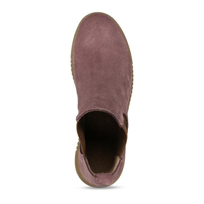 Růžová dámská kožená kotníková Chelsea obuv bata, růžová, 593-5615 - 17