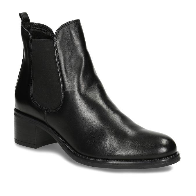 Černá dámská kožená kotníková obuv v Chelsea stylu bata, černá, 694-6628 - 13