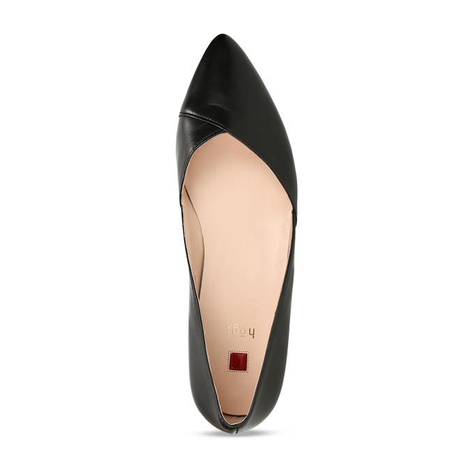 Kožené baleríny s ostrou špičkou hogl, černá, 514-6612 - 17