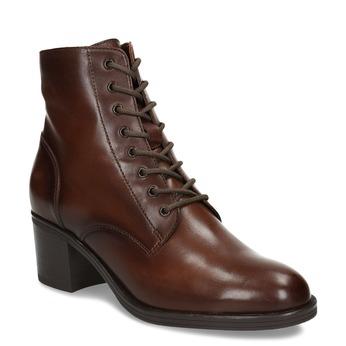 Šněrovací dámská obuv na podpatku v hnědé kůži bata, hnědá, 694-4620 - 13