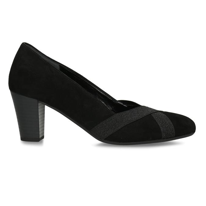 Černé kožené dámské lodičky gabor, černá, 623-6106 - 19