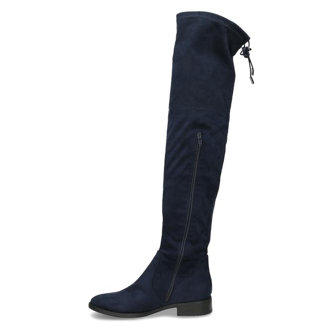 Tmavě modré vysoké kozačky na tenké podešvi bata, modrá, 599-9601 - 17