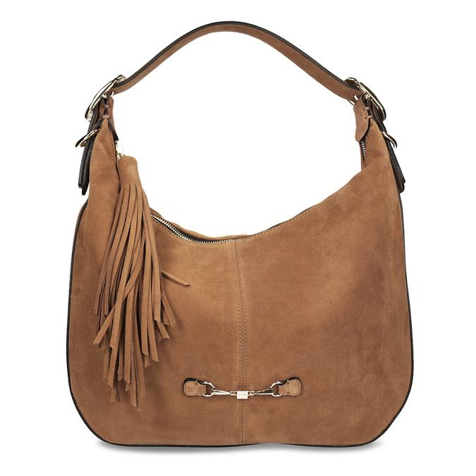 Světlehnědá kožená kabelka s třásní hogl, béžová, 963-3601 - 26