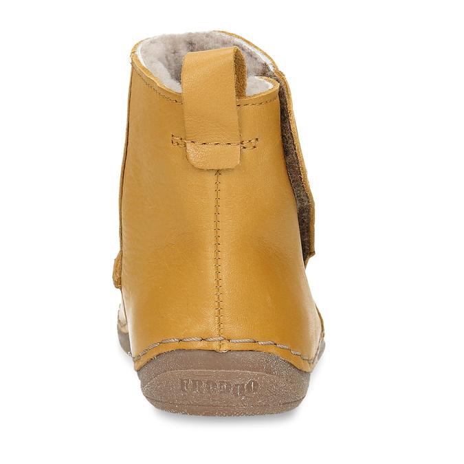 Žluté kožená dětská kotníková obuv s kožíškem froddo, žlutá, 194-8616 - 15