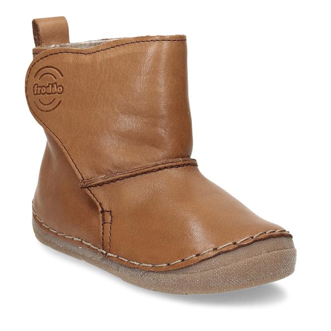 Kožená hnědá dětská zimní kotníková obuv froddo, hnědá, 194-4616 - 13