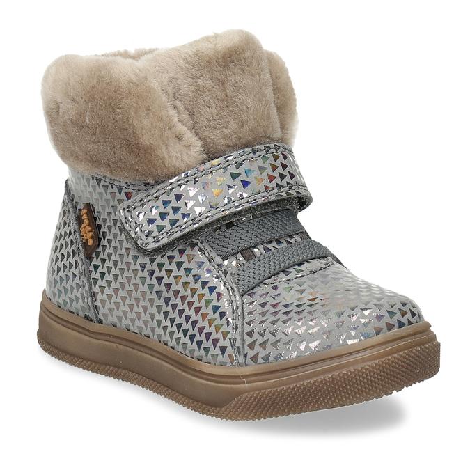 Dívčí šedá kožená zimní obuv s holografickým potiskem froddo, šedá, 194-2612 - 13