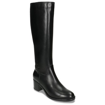 Černé dámské kožené kozačky bata, černá, 694-6644 - 13