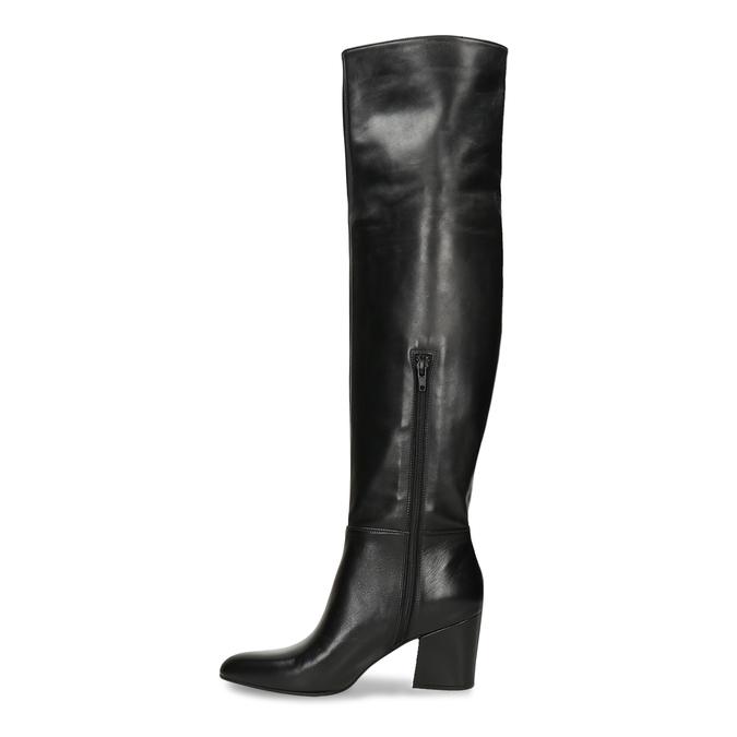 Dámské vysoké kozačky v černé kůži bata, černá, 794-6635 - 17