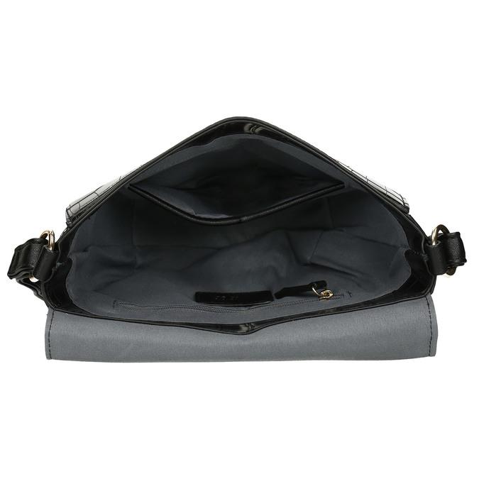 Lesklá půlkulatá kabelka s hadí texturou gabor, černá, 961-6845 - 15