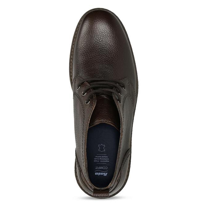 Kožená hnědá pánská kotníková obuv comfit, hnědá, 826-4733 - 17