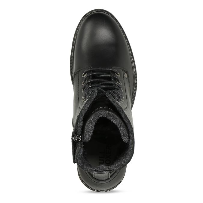 Černá dívčí kožená kotníková obuv s hrubou podešví bullboxer, černá, 424-6605 - 17