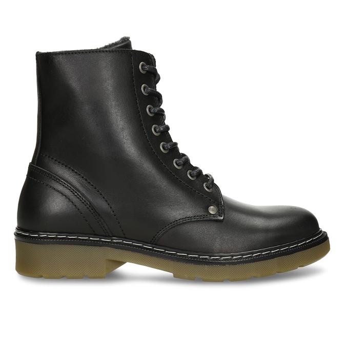 Černá dívčí kožená kotníková obuv s hrubou podešví bullboxer, černá, 424-6605 - 19