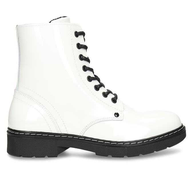 Bílá lakovaná kožená dívčí kotníková obuv bullboxer, bílá, 424-1605 - 19