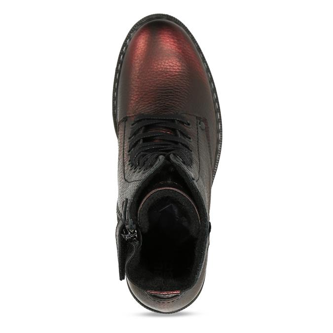 Metalicky červená kožená dívčí kotníková obuv bullboxer, červená, 424-5605 - 17