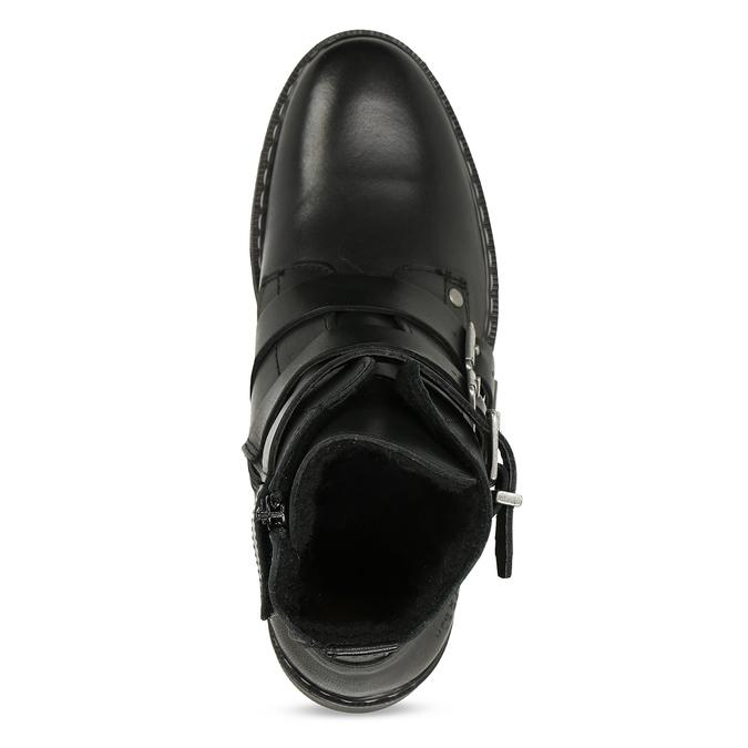 Černá dívčí kožená kotníková obuv s výraznými přezkami bullboxer, černá, 424-6607 - 17