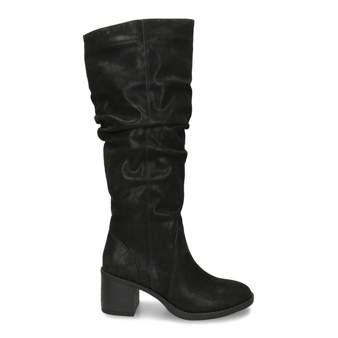 Černé dámské kozačky na podpatku bata, černá, 691-6610 - 19