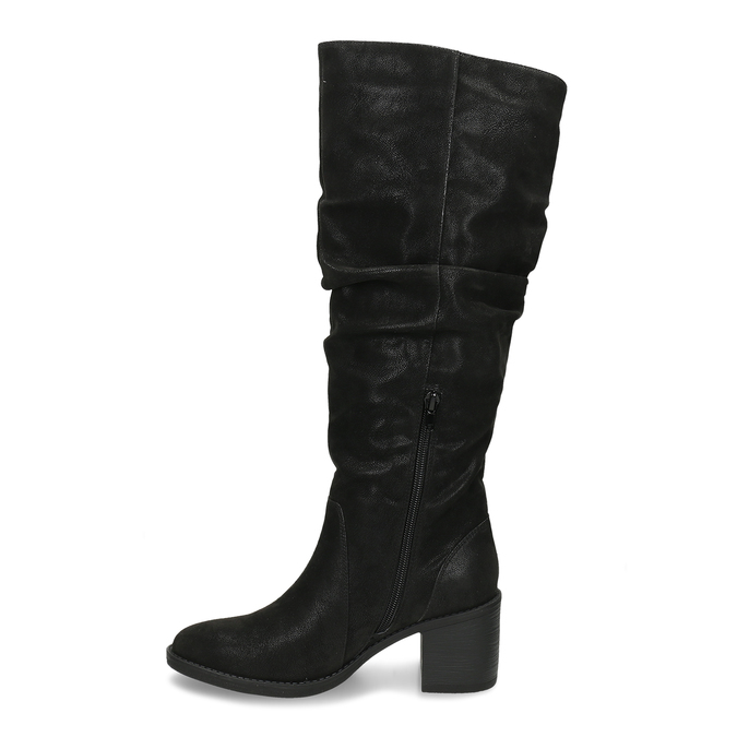 Černé dámské kozačky na podpatku bata, černá, 691-6610 - 17
