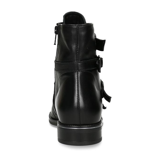Kožená kotníková obuv s výraznými aplikacemi bata, černá, 594-6733 - 15