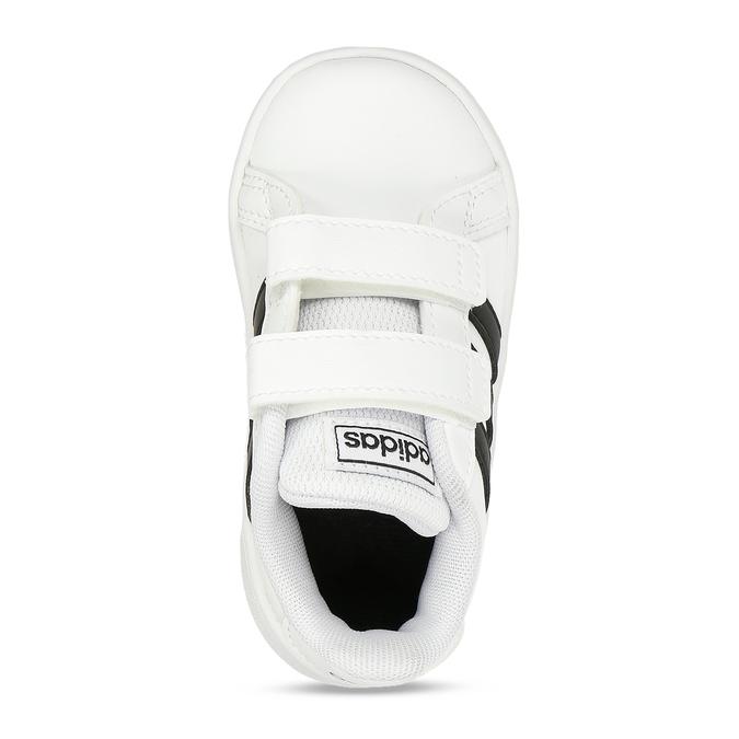 Černobílé dětské tenisky na suchý zip adidas, bílá, 101-1287 - 17