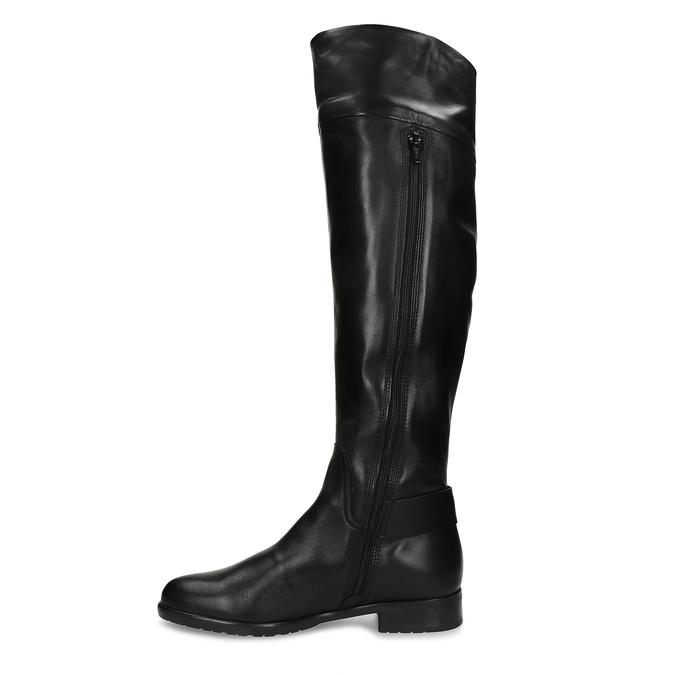 Černé kožené kozačky s přezkou bata, černá, 594-6698 - 17