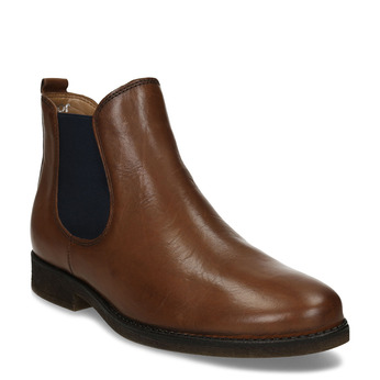Dámská hnědá kožená Chelsea obuv s nízkým podpatkem gabor, hnědá, 594-3360 - 13