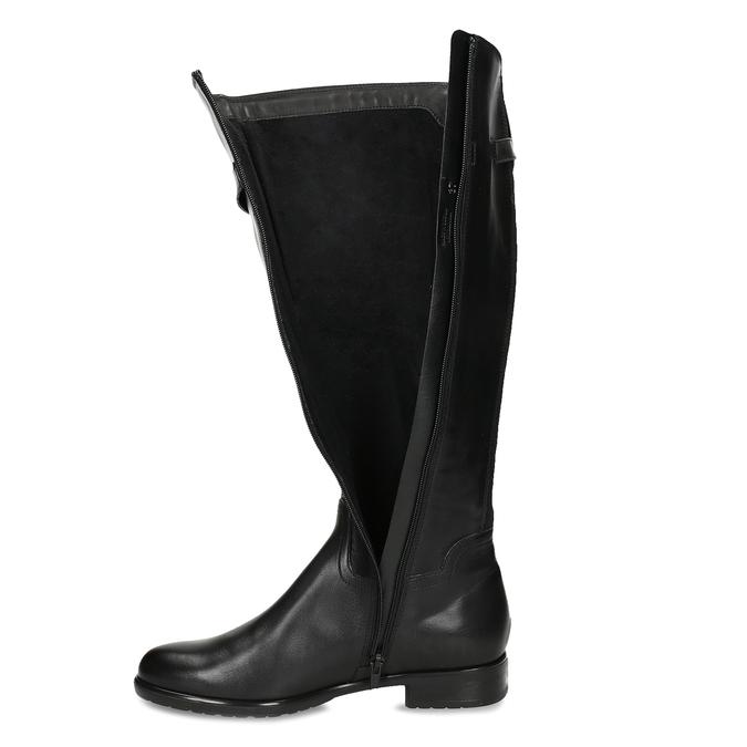 Černé kožené kozačky ve vojenském stylu bata, černá, 594-6702 - 17