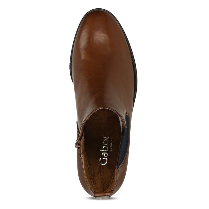 Dámská hnědá kožená Chelsea obuv s nízkým podpatkem gabor, hnědá, 594-3360 - 17