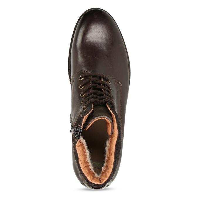 Pánská kotníková obuv z tmavě hnědé kůže bata, hnědá, 896-4615 - 17