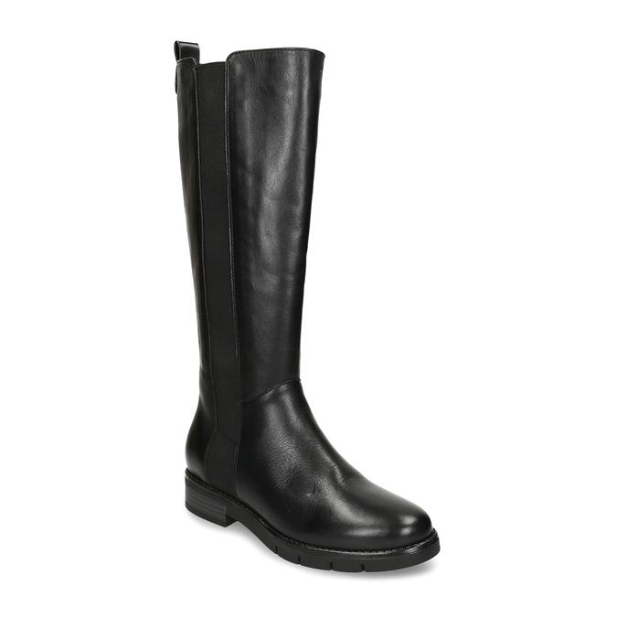 Černé dámské kožené kozačky flexible, černá, 594-6724 - 13