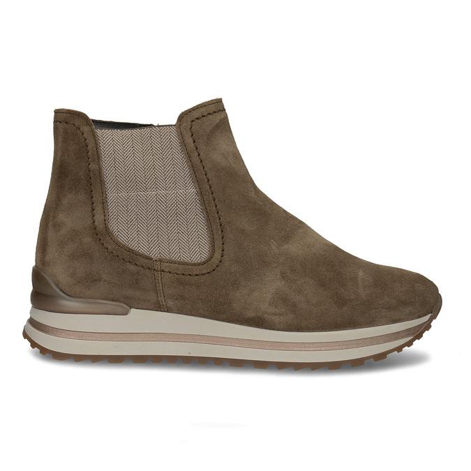 Béžová dámská kožená kotníková obuv s vyšší podešví gabor, béžová, 593-3104 - 19