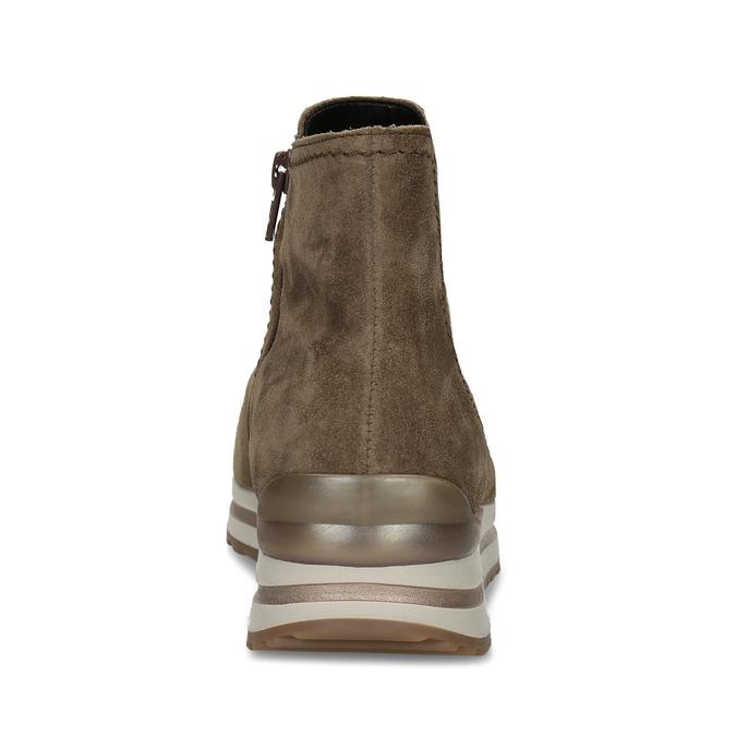 Béžová dámská kožená kotníková obuv s vyšší podešví gabor, béžová, 593-3104 - 15