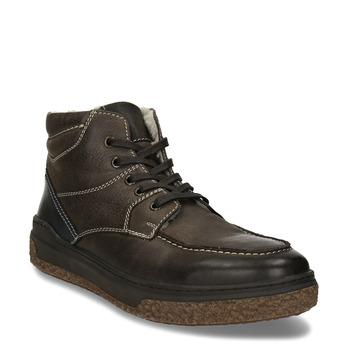 Pánská kožená kotníková obuv na robustní podešvi bata, hnědá, 896-4608 - 13