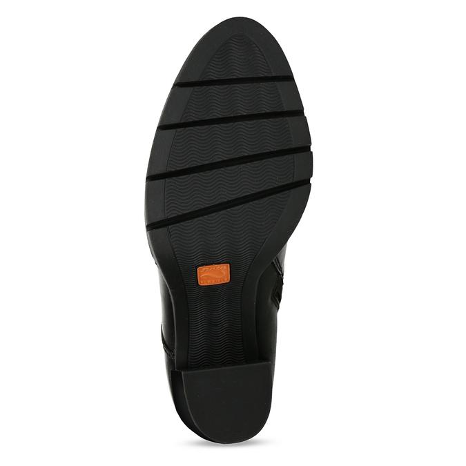 Kožená šněrovací obuv na podpatku flexible, černá, 794-6634 - 18