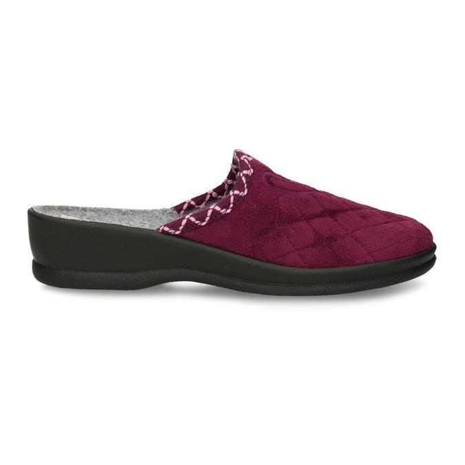 Prošívaná dámská vínová domácí obuv bata, červená, 579-5619 - 19