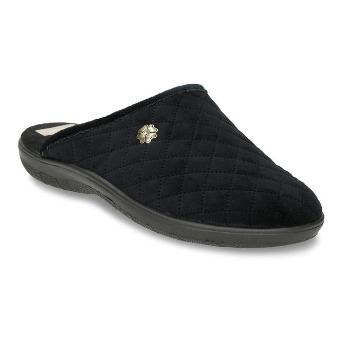 Černé prošívané dámské pantofle s ozdobou bata, černá, 579-6618 - 13