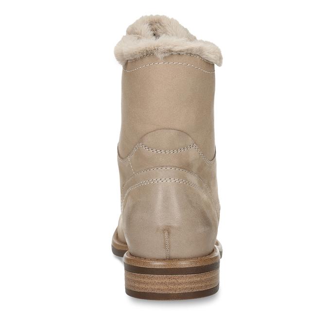 DÁMSKÁ KOTNÍČKOVÁ ŠNĚROVACÍ OBUV Z BROUŠENÉ KŮŽE bata, béžová, 596-4631 - 15