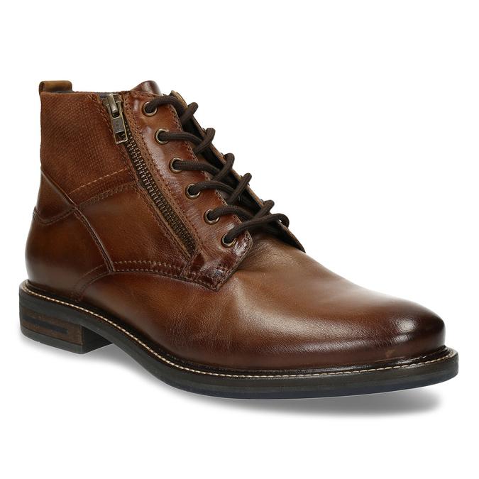 Hnědá kožená pánská obuv s prošíváním a dvěma zipy bata, hnědá, 896-3610 - 13