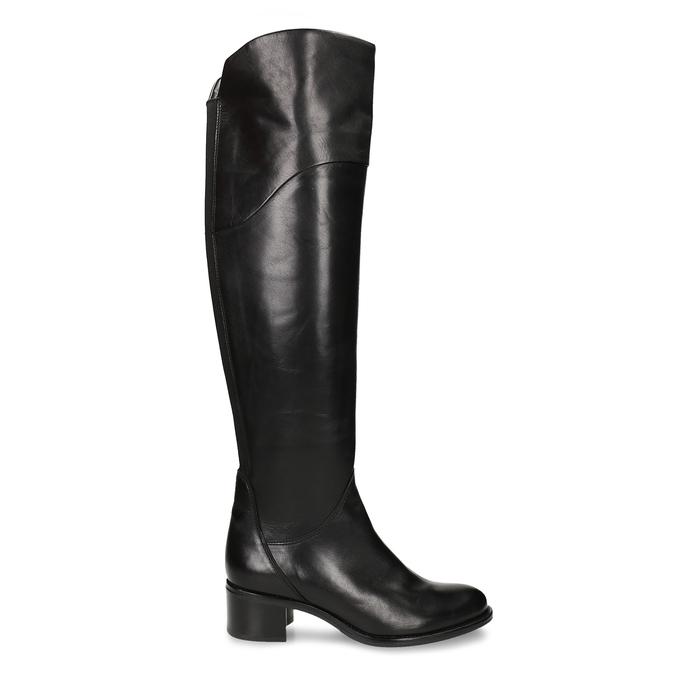 Vysoké černé dámské kožené kozačky nad koleno bata, černá, 694-6657 - 19