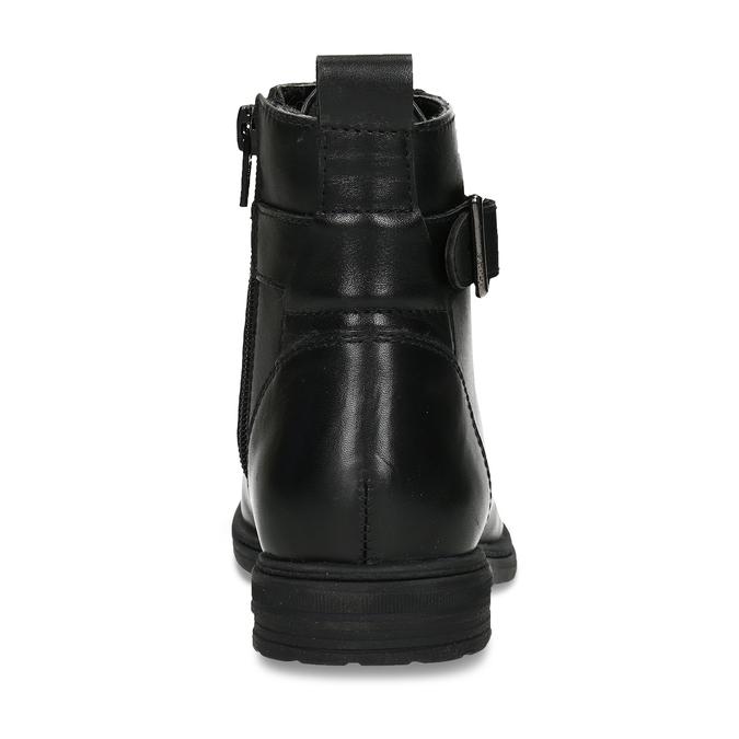 Černá kožená dívčí kotníková obuv s přezkou mini-b, černá, 424-6602 - 15
