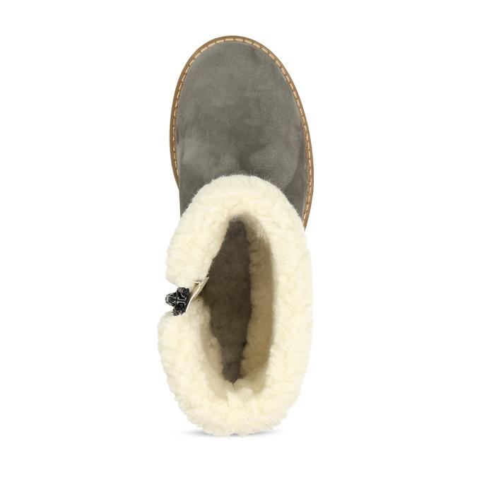 Zimní dámské kožené boty s kožíškem weinbrenner, šedá, 596-2603 - 17