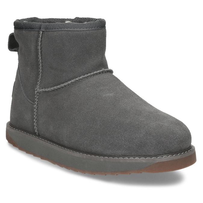 Šedé kožené zimní kotníkové boty s kožíškem coqui, šedá, 593-2611 - 13
