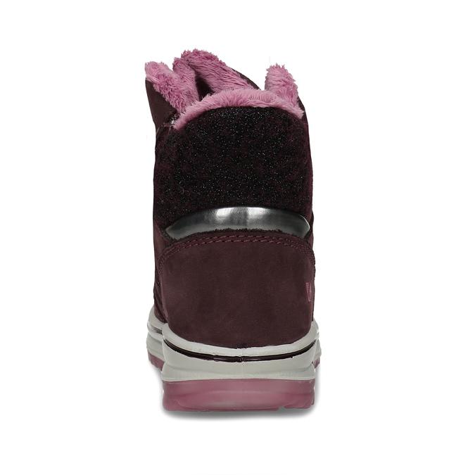 Vínová dívčí kožená kotníková zimní obuv weinbrenner, červená, 393-5610 - 15